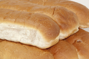 Closeup of Tasty White Oven Baked Bread Rolls