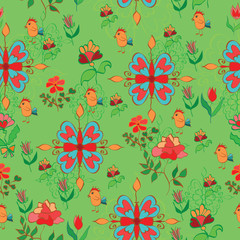 Flowers and birds on the green background. Seamless texture. Ske