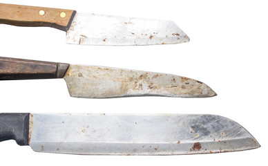 old set of chef kitchen knife isolated