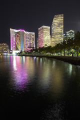 City of Miami downtown at night by the bayside