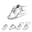 Speeding running shoe icons in five variations - 72421050