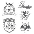Set of running marathon and jogging emblems, labels and badges - 72421059