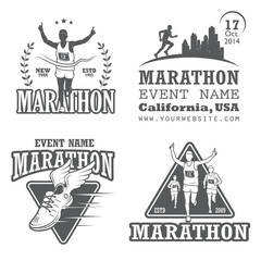 Set of running marathon and jogging emblems, labels and badges.