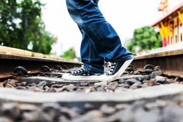 Railroad Track Action man walk .