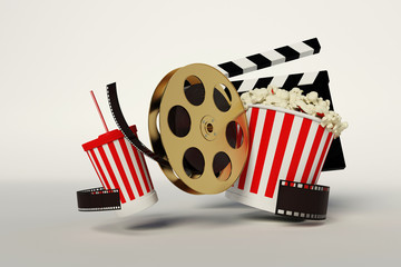 Film reel,popcorn,movie strip,disposable cup for beverages with