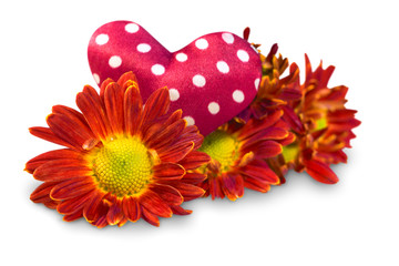 Flowers with hearts on a white background