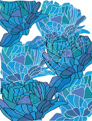 background with blue painted flowers