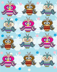 background with owls in a row