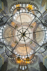 Chandelier and dome of New mosque in Fatih, Istanbul