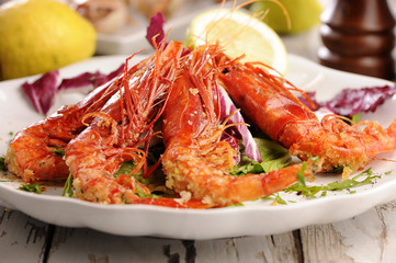 Salad with Prawns. Shrimps