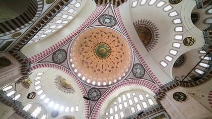 Interior view in Suleymaniye Mosque, Istanbul, Turkey