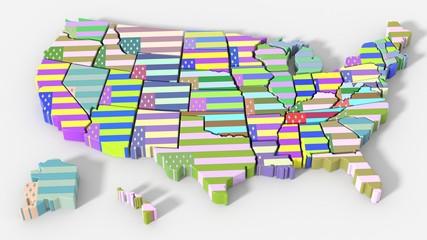 USA map colore