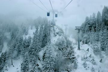 Gondola lift in Alps, Zillertal in Austria