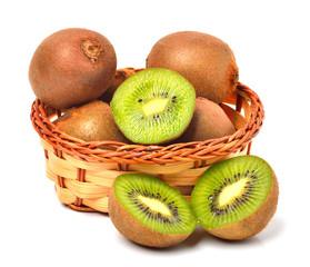 kiwi fruit on the basket isolated on white