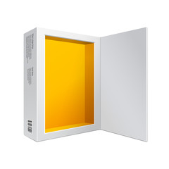 Opened White Modern Software Package Box Orange