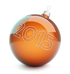 christmas glass ball, new year 2015 on a white background