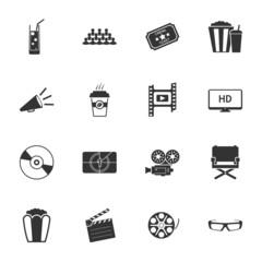 Cinema black and white flat icons set
