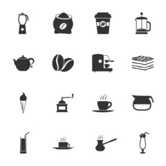 Coffe black and white flat icons set