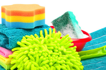 Towels, sponge, microfiber, bowl, supplies for cleaning, houshol