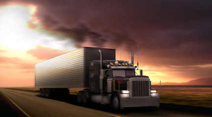 Truck peterbilt is moving rapidly to suburban highway.