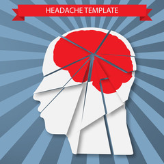 Headache. Silhouette of human head with red brain