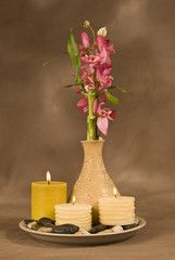 Three Candles With Bamboo
