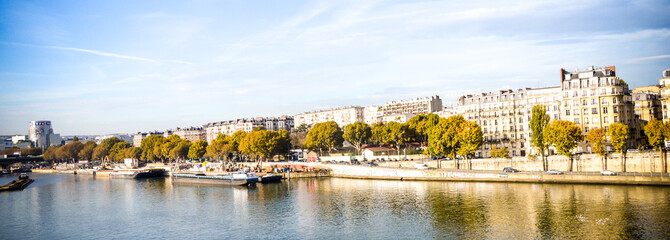 River of Paris during sunny day with blue sky