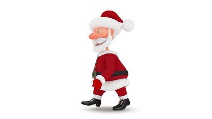 3d Santa Claus walks