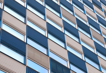 Office facade with ripples in blue and white
