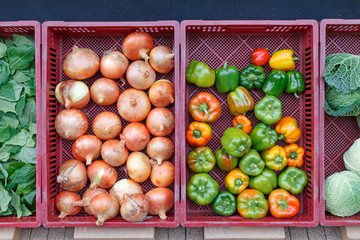 Vegetables in front of the grocery store in autumn
