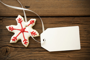 Christmas Star Cookie with Empty Label