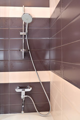 The one-lever wall mixer with a shower watering can and the cran