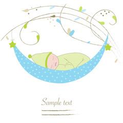 Newborn baby boy cradle greeting card vector