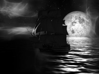 Sailboat at Moonlit Night