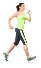 Woman Running  with Water Bottle Isolated on White Background