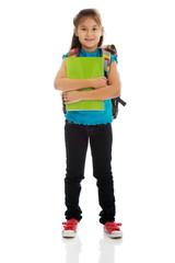 Little girl holding notebooks