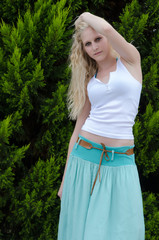 Fashion portrait of blond young sensual lady