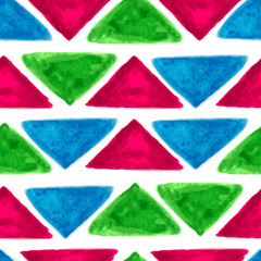 Watercolor seamless geometric pattern with colorful triangles. V
