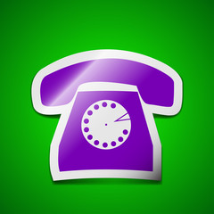 Retro telephone icon sign. Symbol chic colored sticky label on