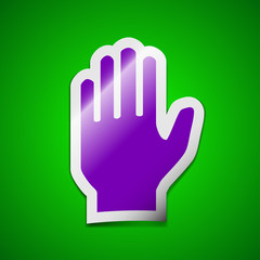 Hand print icon sign. Symbol chic colored sticky label on green