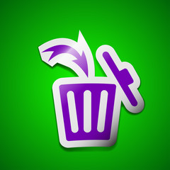 Recycle bin icon sign. Symbol chic colored sticky label on green