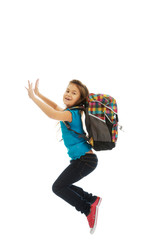 Girl with bag jumping high