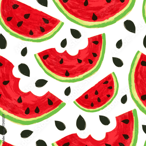 Watercolor watermelon slices, seamless background. Vector illust - 72430238
