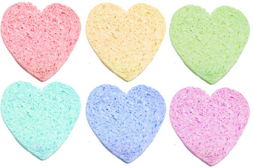 Set of sponge bath heart-shaped isolated on white background