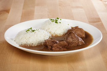 Meal with rice ready to eat for one Euro made for fast food