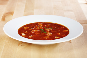 Breakfast soup ready to eat for one Euro made for fast food