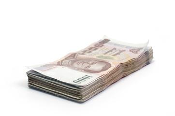 Thailand money banknotes isolated on white background