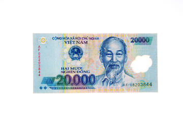 Vietnamese currency 20,000 dong banknote
