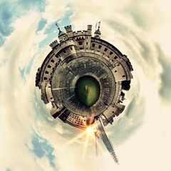 Awesome circular London Medieval Castle landscape view