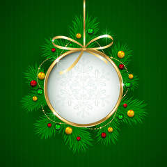 Christmas decoration on green background